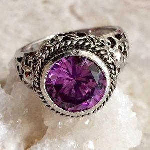 Simulated Purple Diamond Silvertone Ring